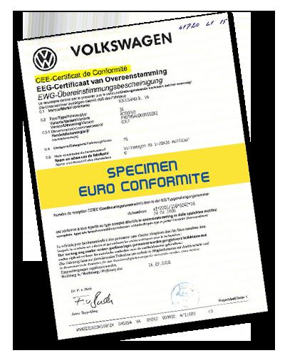 Homologation des types de Véhicules : Certificat de conformité